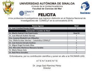 Felicitación SNI 2016 FACIMAR