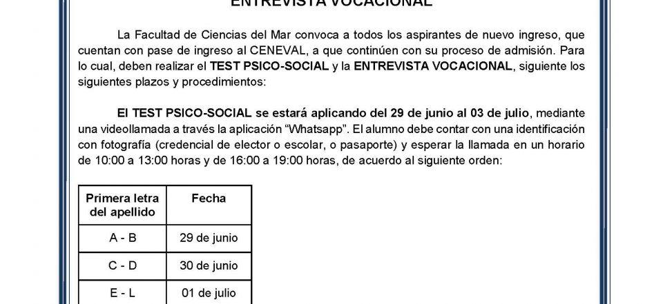 APLICACIÓN VIRTUAL DE TEST PSICO-SOCIAL ENTREVISTA VOCACIONAL